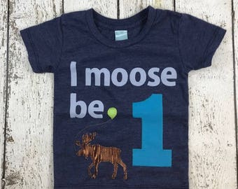 moose shirt, moose party, woodland birthday, i am 1, one shirt, Birthday shirt, Customize colors Boys Girls Birthday Tee first birthday