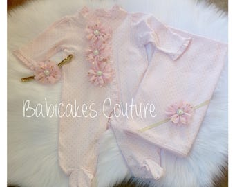Newborn Girl Take Home Outfit, Baby Girl Footie, Pink and Gold Swaddle Set Pink and Gold Footie Outfit Pink & Gold Baby Layette Baby Blanket