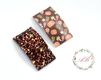 Fall Snap Clips - Set of 2 Snap Clips - Glitter Hair Clip - Girls Snap Clips - Baby Snap Clip - Faux Leather Snap Clip