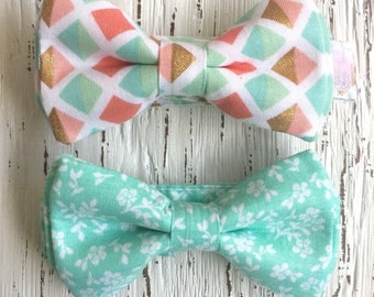 READY TO SHIP (size 3-6 yo), mint bow tie, peach and mint bowtie, mint wedding, mint bowtie, mint and gold tie, peach bowtie, ring bearer