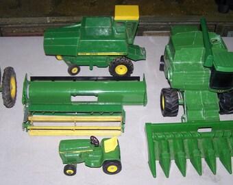 Vintage Six Piece John Deere Tractor/Combine Toy Set