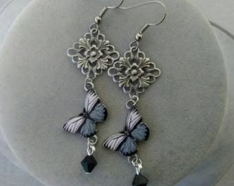 Gray and Black Butterfly Earrings
