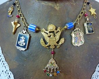 AMERICA  vintage  assemblage antique patriotic USA necklace