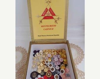 30% OFF SALE Buttons Lot  Vintage Antique in Montecristo Casino II Cigar Box Wood Storage Bulk Diy Supplies