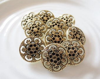 """Filigree Flower Shank Button 3/4"""" Antique Gold Off White Combo 19mm Set of 10"""