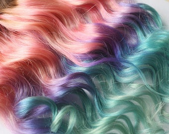 Cloud9jewels on etsy custom any color in tape ins human hair extensions cotton candy unicorn pastel tape pmusecretfo Images