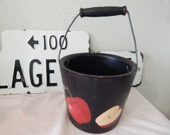 Vintage Hand painted Wooden Apple handled Planter Bucket