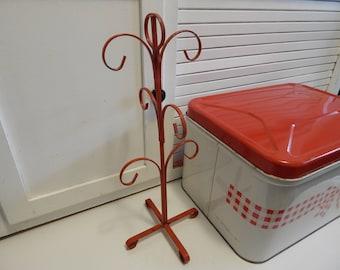Vintage Reddish Orange Retro 50's- 60's Metal Mug Tree Coffee Mug Tree Mug Holder