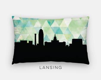 Lansing Michigan pillow | Michigan home decor | geometric pillow | Michigan gift | geometric green pillow | Lansing skyline pillow