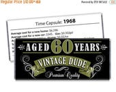 15% OFF - Set of 12 - Vintage Dude Candy Bar Wrappers - 60th Birthday Party Favors Adult Milestone Favors - 30th, 40th, 50th, 60th, 70th - A