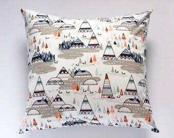 TeePee Nursery Pillow Cover, Indian Summer Nursery Decor, Woodland Oak Tee Pee Pillow Cover, Baby Boy Tribal Throw Pillow, Accent Pillow