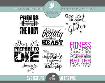 Fitness SVG Set Motivation Strength Training Beast LL045 - SvG DxF Ai EpS PnG JpG Vector Digital File For Cricut Silhouette & Other Cutters