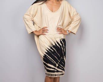 Short dress, Tie dye dress, bleached dress, midi dress, loose fit dress, hippie dress, summer dress  : Funky Bleach Collection