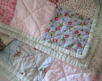 Custom King Size Quilt, Custom Queen Size Quilt, Patchwork Quilt, Pastel Cottage Chic, Traditional Farmhouse Decor, Wedding Gift