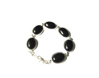 Bracelet Southwestern Sterling Silver Black Cabochon Link