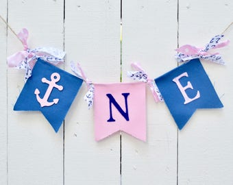 Nautical birthday banner - ONE birthday banner - girl nautical banner - birthday banner - 1st birthday - nautical birthday - nautical party