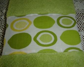Lime (chartreuse) green hand/dish towel wlimes & lemons, citrus fruit, spring/summer decor, cotton terry, hostess/shower gift, under 10