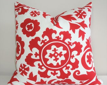 Christmas Holiday Red and White Suzani Print Pillow Cover Size 18x18