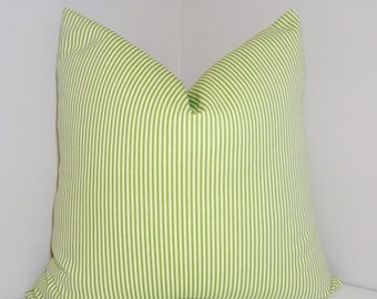 SPRING FORWARD SALE Chartreuse & White Skinny Stripe Pillow Decorative Pillow Cover Throw Pillow All Sizes