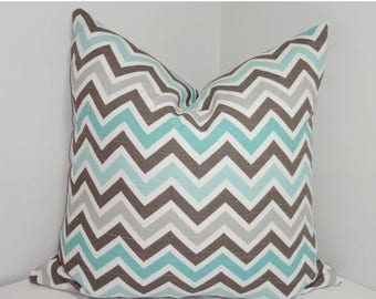 SPRING FORWARD SALE Decorative Pillow Cover Brown Blue Grey White Zig zag Chevron Pillow Covers All Sizes