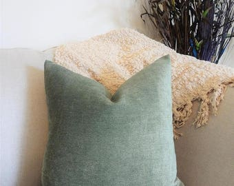 SPRING FORWARD SALE Textured Soft Cotton Green Gold Solid Sage Green Pillow Cover Decorative Throw Pillow Cover Choose Size