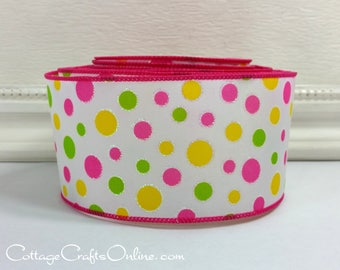 "Wired Ribbon 2 1/2"", Pink, Green, Yellow Polka Dots, Glitter - TEN YARD ROLL - ""Sugar Dots"" Summer, Spring Wire Edged Ribbon"
