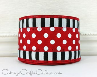 "Wired Ribbon, 2 1/2"", Red and White Polka Dots with Black and White Stripes - TEN YARD ROLL - ""Dots in a Line"" Christmas Wire Edged Ribbon"