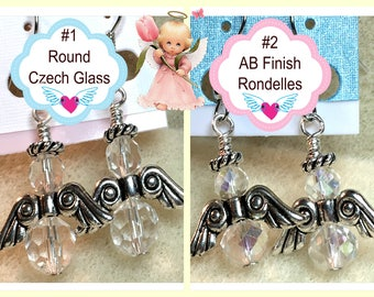 Guardian Angel Earrings Dangles Drops Remembrance Gift