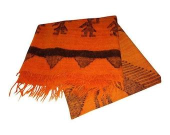 Vintage Native American Symbols Orange and Black Wool Blanket