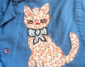 Kitty Cat Shirt // Blue Button Up Blouse with Cat // Meow Calico Print Top