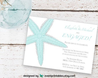 Printable Starfish Engagement Party Invitation, Beach Wedding Engagement Party, Beach Engagement Party Printable by Event Printables