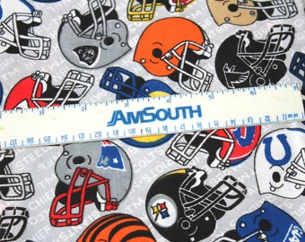 NFL Football Helmets Fabric Multicolored Helmets on Gray Background , 1.5+ Yards Cotton Fabric for Quilting/General Sewing & Crafts