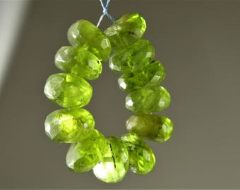 Natural Genuine Peridot Micro-Faceted Rondelle Beads - 7.4mm x 3.8mm - 12 beads - B7429