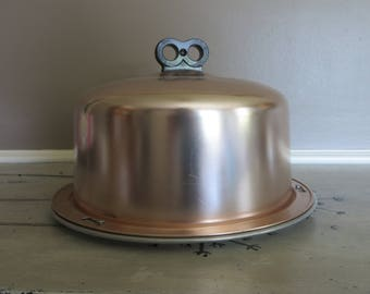 Pink Cake Carrier Vintage Cake Cover Cake Plate Aluminum Regal Aluminum Carrier Retro Kitchen Retro Cake Taker