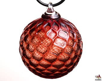Hand Blown Glass Ornament - Transparent Ruby Red with Diamond Pattern