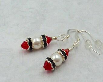 Ruby and Pearl Earrings, Swarovski Pearl Earrings, Ruby Crystal Earrings, Bridal Earrings