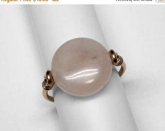 Rose Quartz Ring in Silver or Gold, 14 mm