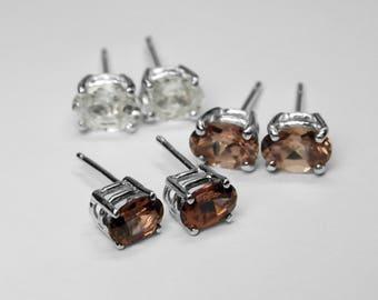 Zircon Stud Earrings in Silver, Choice of 3