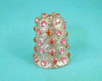 HANDCRAFTED thimble with Pink Rhinestones
