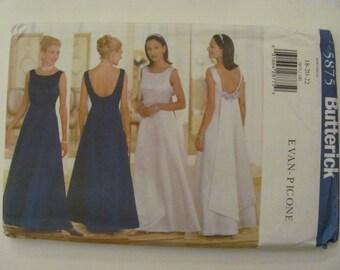 Butterick 5875 Formal Bridesmaid Wedding Dress Sewing Pattern Plus size 18-20-22 1998 Evan-Picone