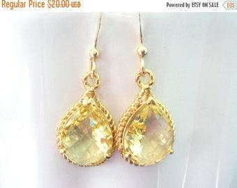 SALE Yellow Earrings, Glass Earrings, Citrine, Gold Earrings, Bridesmaid Jewelry, Wedding, Bridesmaid Earrings, Bridal Earrings, Bridesmaid