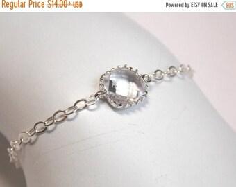SALE Clear Bracelet, Glass Bracelet, Crystal Bracelet, Sterling Silver Bracelet, Wedding Jewelry, Bridal, Bridesmaids Bracelet, Bridesmaid G