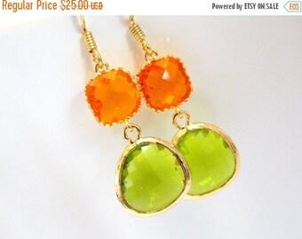 SALE Glass Earrings, Apple Green Earrings, Gold Earrings, Orange Earrings, Tangerine, Bridesmaid Earrings, Bridal Earrings, Bridesmaid Gifts