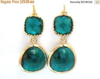SALE Green Earrings, Emerald Earrings, Glass Earrings, Gold Green, Wedding, Bridesmaid Earrings, Bridal Earrings Jewelry, Bridesmaid Gifts