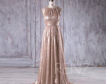 2017 Tan Ruched Bodice Bridesmaid Dress, Scoop Neck Sequin Wedding Dress, A Line Prom Dress, Luxury Ball Gown Floor Length (HQ353)