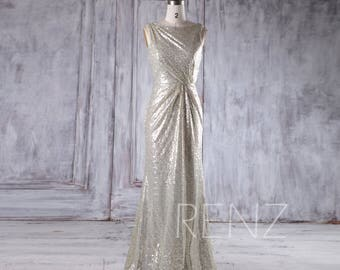 Gold Silver Sequin Bridesmaid Dress, Draped Back Wedding Dress, Ruched Bateau Neck Prom Dress, Luxury Ball Gown Full Length (HQ355)