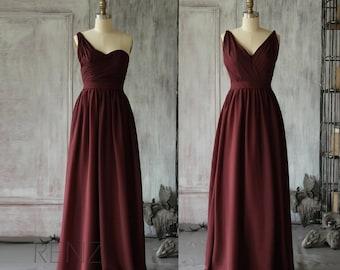 Mix Match Bridesmaid Dress Chiffon,Wine Wedding Dress, One Shoulder Prom Dress, V neck Long Maxi Dress Floor Length (F067 / F068)