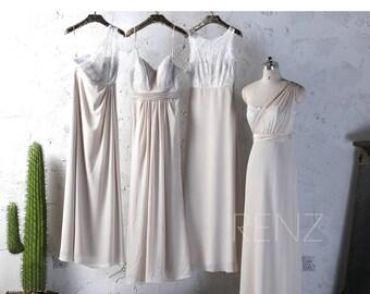 2017 Cream Chiffon Bridesmaid Dress Long, Off White Lace Wedding Dress, A Line Prom Dress, Sweetheart Evening Gown (J046/L148/J047/J045)