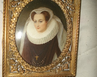 Miniature Gouache Portrait Mary Queen of Scot's