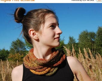 Christmas in July Sale Infinity Scarf, Knit Infinity Scarf, Multicolor Infinity Scarf, Rope Scarf, Autumn Colors, Skinny Scarf, Circle Scarf